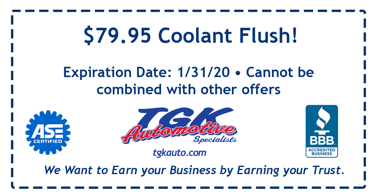79.99 dollar coolant flush! Expiration Date: Jan 31, 2020. Cannot be combined with other offers.