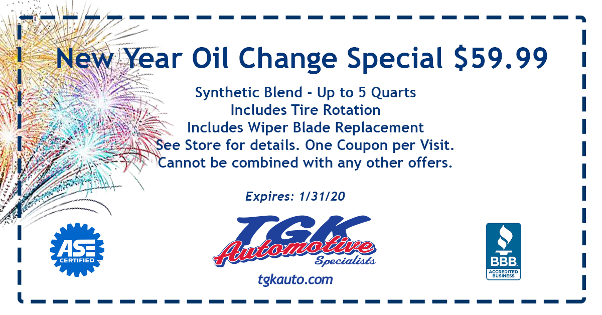 New Year Oil Change Special 59.99 dollars, synthetic blend up to 5 quarts, includes tire rotation, wiper blade replacement. See store for details. One coupon per visit. Cannot be combined with any other offiers. Expires Jan 31, 2020.