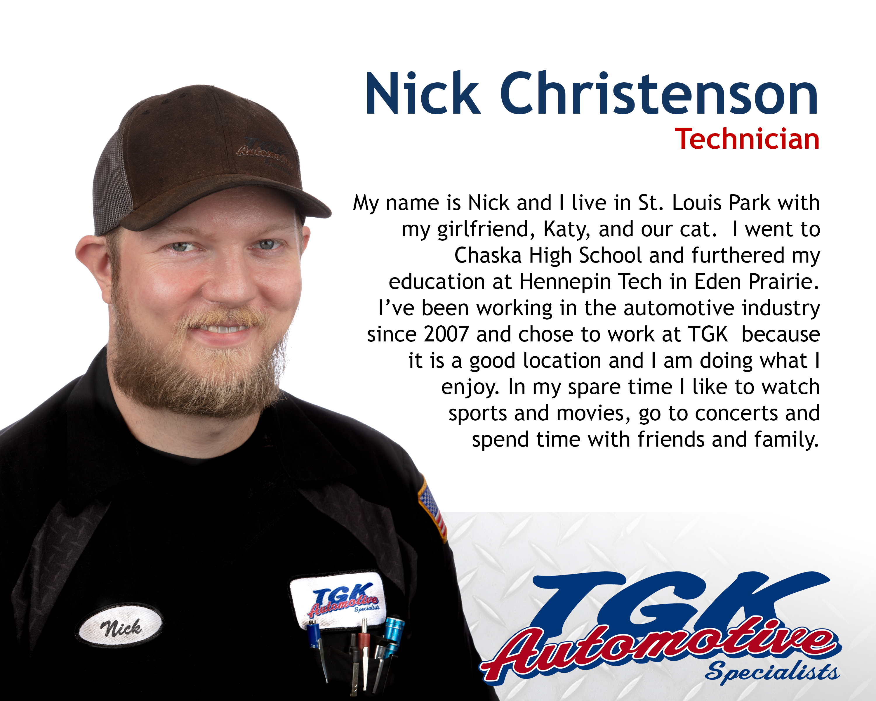 NICK CHRISTENSON, TECHNICIAN